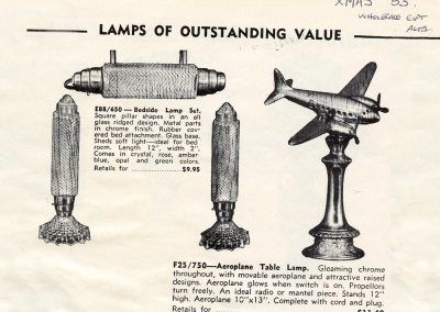 Vintage ad for Art Deco airplane lamp