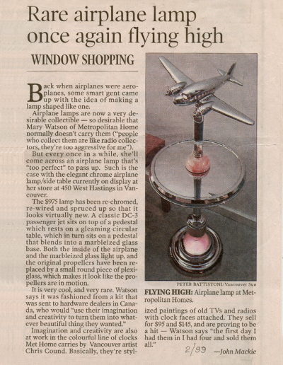 Rare airplane lamp newspaper article 1999