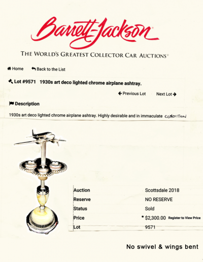 Airplane lamp bannett jackson auction results