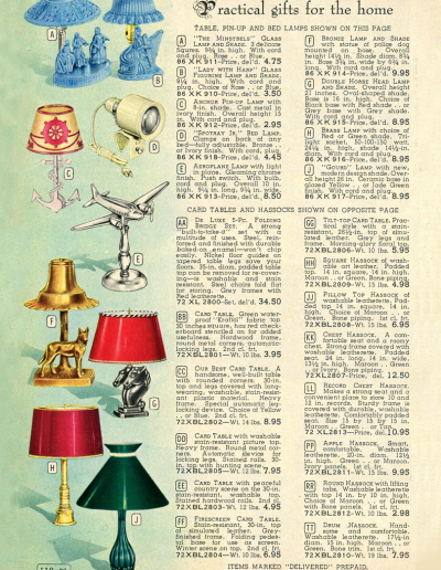 Vintage Simpsons advertisement for airplane lamps and other gifts from 1950
